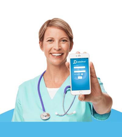 nurse holding a phone