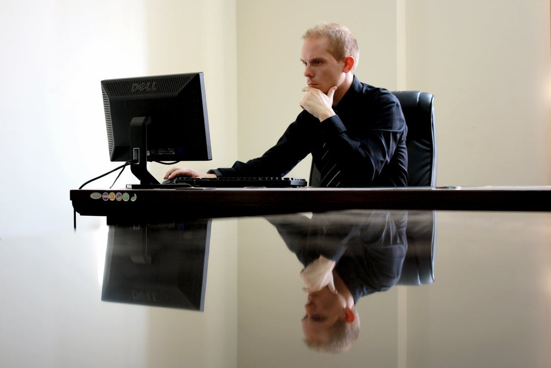 A man at a desk
